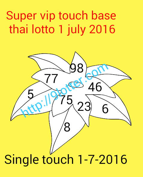 Super Vip touch base Thai lottery 1 July 2016