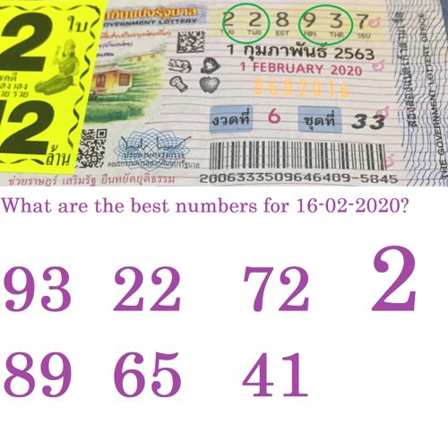 best numbers for Thai lottery 16 February 2020