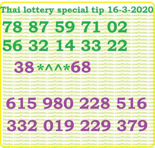 Thai lottery special tip 16-03-2020
